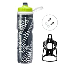Bicycle Reflective Insulated Water Bottle & Cage - Via Velo 750ML Capacity BPA-Free Double Insulated Bike Water Bottle with Cage Mount For Sports, Indoor and Outdoor Activities