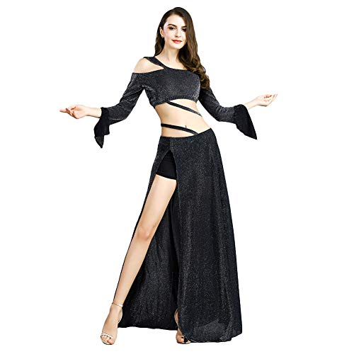 ROYAL SMEELA Belly Dance Costume for Women Belly Dancing Skirts Off Shoulder Tops Long Sleeve Maxi Dress Bellydance Outfit -