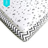 Pack N Play Fitted Sheet Set – 2 Pack – 100% Soft Jersey Cotton Pack N Play Sheets for Mini and Portable Crib – Stylish Gray Chevron/Stars Print – Perfect Playard Sheets for Baby Girl or Baby Boy Review