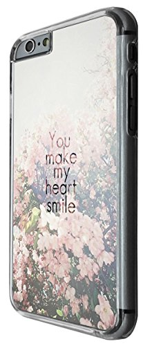 1181 - Floral SHabby Chic Roses You Make My Heart Smile Design For iphone 6 Plus / iphone 6 Plus S 5.5'' Fashion Trend CASE Back COVER Plastic&Thin Metal -Clear
