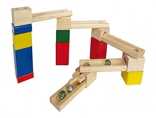 Kugelbahn aus Holz inkl. Kugeln und Glocke