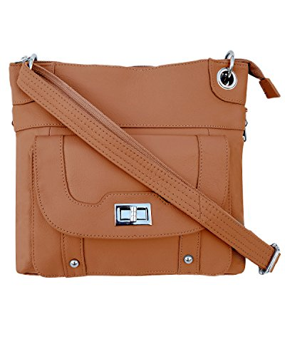 Roma Leathers Ladies Gun Concealment Crossbody Bag - Cowhide Leather, Adjustable Strap and Metal Twist Lock Buckle - Light Brown (Free Glasses Case)