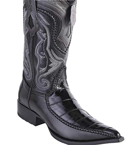 Los Handcrafted Genuine Skin Altos Eel Deer Toe 10 Boots Men's With 3x 5 Black SMUzVLGpq