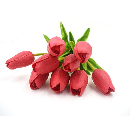 SMYLLS 10 pcs Holland Tulips Flowers with Latex-Look Like Real,Eco-friendly Odourless Artificial Flowers Christmas Party Decoration Gift Package(10, Red)