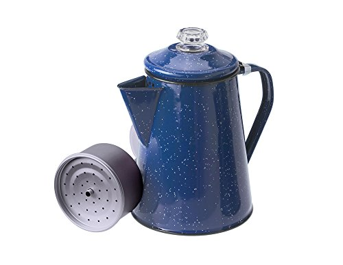 Camp Coffee Percolator - GSI Outdoors Enamelware Percolator Coffee Pot, 8-Cup, Blue