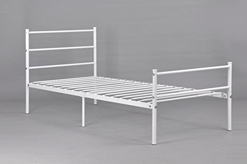 GreenForest Metal Bed Frame Twin Size, Two Headboards 6 Legs Mattress Foundation Black Platform Bed Frame Box Spring Replacement for Boys Kids Adult B,White by GreenForest