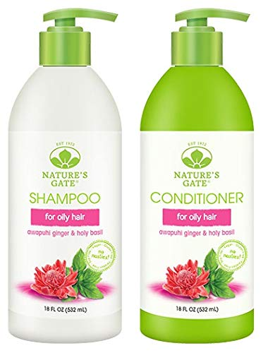Nature's Gate Awapuhi and Holy Basil Volumizing for Oily Hair - Duo Set Shampoo & Conditioner, 18 Oz Each Bottle (Conditioner Volumizing Natures Gate)