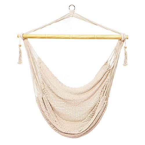 E EVERKING Hanging Rope Mesh Hammock Chair Swing, Cotton Rope Mayan Hammock Chair, Netted Hanging Chair Swing Seat for Outdoor Indoor Yard Bedroom Patio Porch, 300lbs Weight Capacity ()
