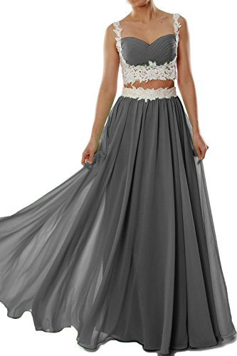 MACloth Women Two 2 Piece Lace Chiffon Long Prom Dress Formal Party Evening Gown Gris