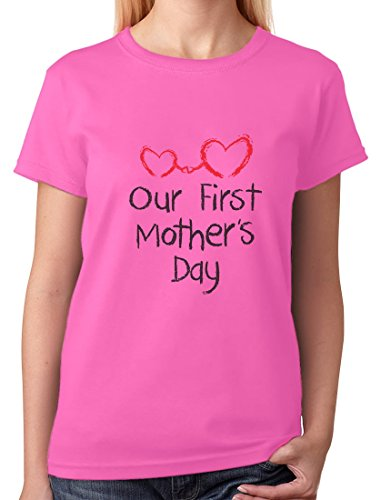 TeeStars - Our First Mothers Day - Mom Baby Cutest Gift Idea Women T-Shirt Medium Pink