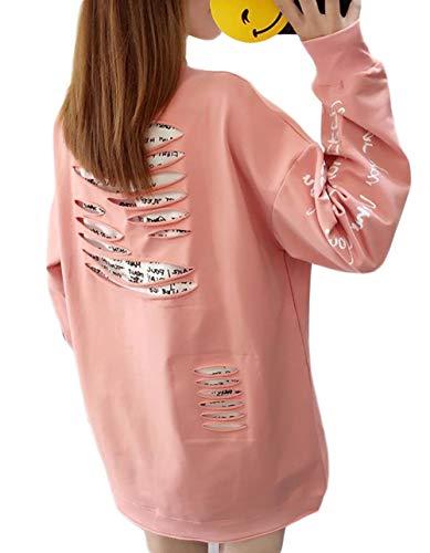 ソビエト一人で名前でBSCOOLレディース トレーナー 長袖 トップス ゆったり パーカー ストリート 韓国ファッション 薄手カットソー 秋服 白 ピンク