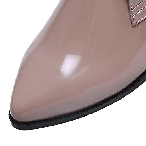 Allhqfashion Stivali Da Donna Con Tacco Basso In Vernice Microfibra Con Fasciatura E Albicocca Con Filo