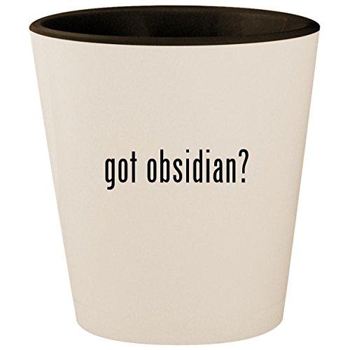 got obsidian? - White Outer & Black Inner Ceramic 1.5oz Shot Glass