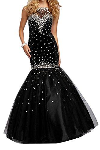 Ivydressing Tuell Schwarz Damen Steine Stil Meerjungfrau Abendkleid qROw1qC