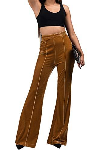 AKIRA Women's Stretch Velour Velvet High Waist Pull On Pleated Front Flare Leg Trouser Pants-Mustard Yellow_S ()