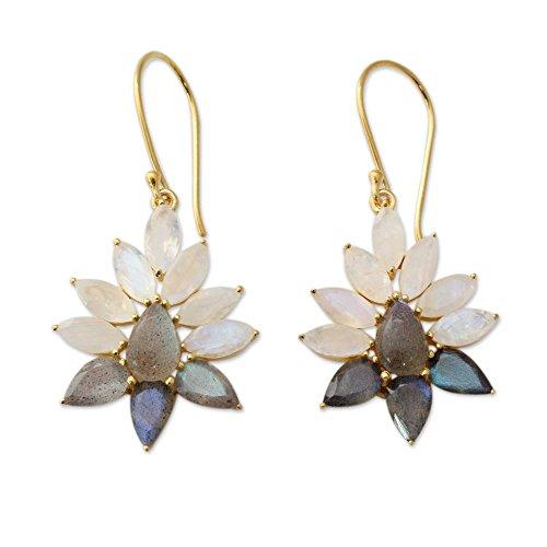 NOVICA Rainbow Moonstone .925 18k Yellow Gold Vermeil Dangle Earrings 'Dawn Aura'