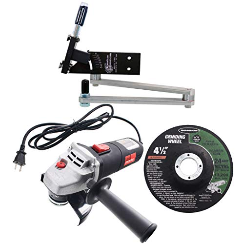 All American Sharpener Model 5005 Adjustable Lawn Mower Blade Sharpener with Angle Grinder and Wheel