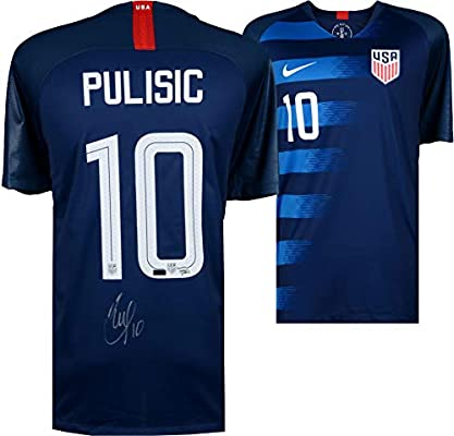 975b826284a Christian Pulisic USA Autographed 2018 Nike Blue Jersey - Panini Authentic  - Fanatics Authentic Certified