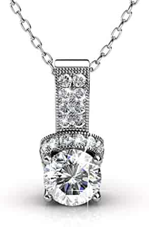 Cate & Chloe Laya Ruler 18k White Gold Swarovski Pendant Necklace, Best Silver Halo Necklace for Women, Girls, Ladies, Special-Occasion-Jewelry, Pave Round-Cut Swarovski Crystals 18
