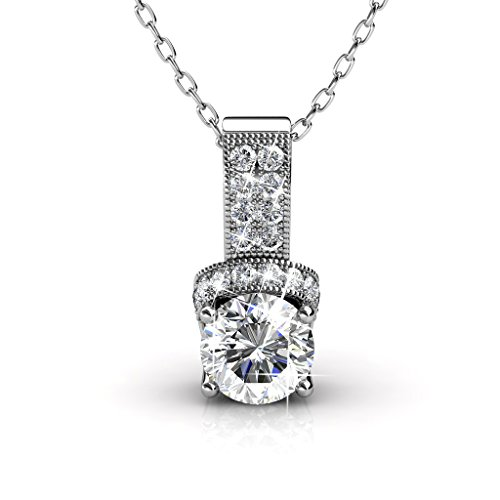 ler 18k White Gold Swarovski Pendant Necklace, Best Silver Halo Necklace for Women, Special-Occasion-Jewelry, Pave Round-Cut Swarovski Crystals, Chain Necklaces - MSRP $132 (Pave And Crystal Necklace)