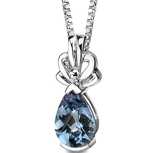 Simulated Alexandrite Pendant Sterling Silver Rhodium Nickel Finish 2.25 Carats Pear Shape