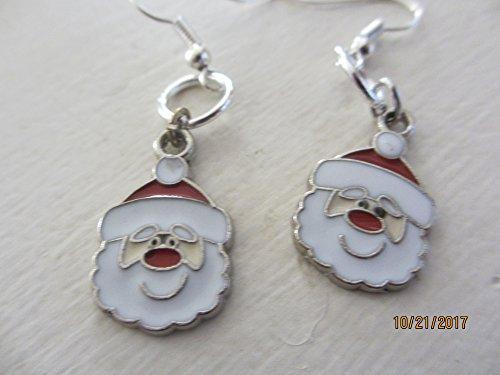 Pretty Enamel Santa Earrings, Christmas Jewelry, Santa Charm Earrings, Holiday Jewelry
