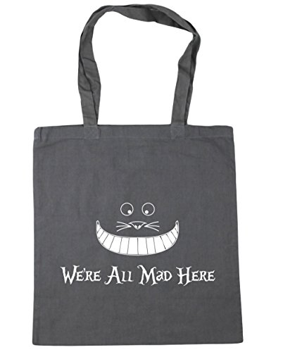 HippoWarehouse we're all mad here Tote Shopping Gym Beach Bag 42cm x38cm, 10 litres Graphite Grey