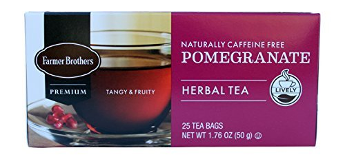 - Farmer Brothers Premium Pomegranate Herbal Tea, Pack of 25 Tea Bags