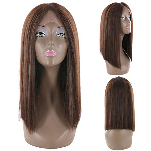 Buladou Hair Natural Looking Yaki Straight Synthetic Bob Lace Front Wigs Brown Color Deep Parting Frontal Lace Heat Resistant Bob Wigs for Women 14inch (#4)