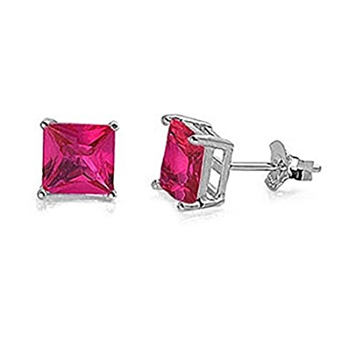 Stud Post Earrings Princess Cut 5mm Square Simulated Red Ruby 925 Sterling -