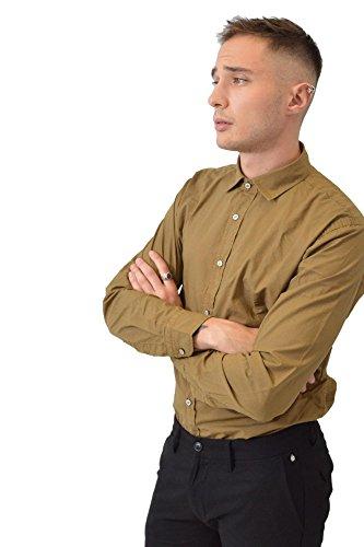 FB Camicia Senape Fantasia ZigZag Cotone Bottoni Abbigliamento Moda Uomo