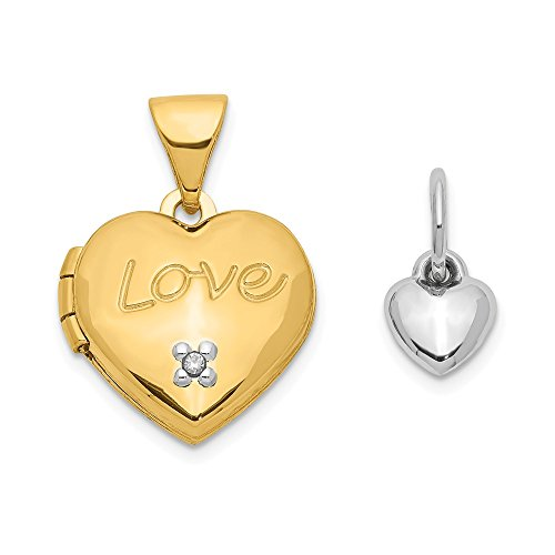 14k Yellow Gold Two Tone 12mm Heart Diamond Locket Pendant Charm Necklace Fine Jewelry Gifts For Women For Her
