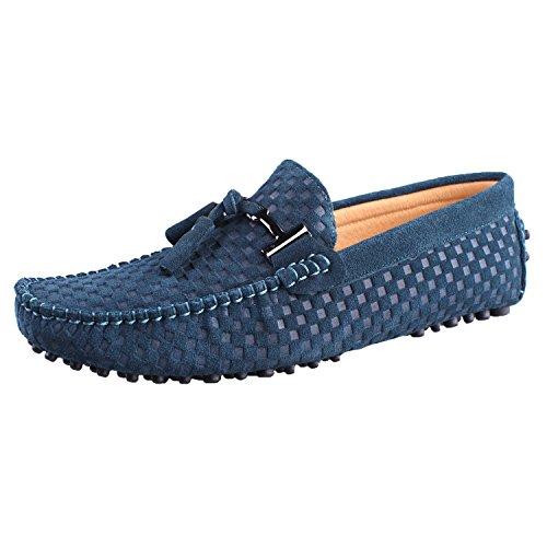 Santimon Hombres Cuero Conducción Walking Mocasines Loafer Zapatos Woven Tassel Pendant Green