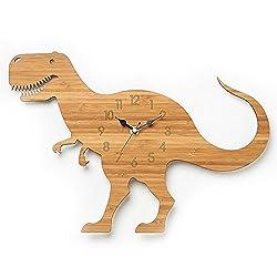 TOYM- 12 Inch Forest Theme Bamboo Cartoon Dinosaur Wall Clock Children's Room Wood Animal Wall Quartz Clock