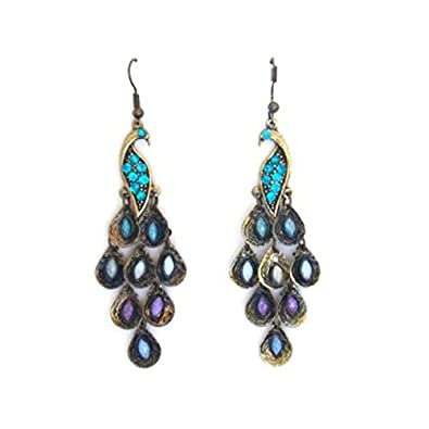 59188d2787cdc8 Gleader New Lady Vintage Retro Blue the Prancing Peacock Earrings:  Amazon.co.uk: Jewellery