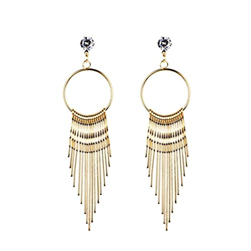 - Women Long Metal Tassel Dangle Earring Crystal Earrings Eardrop Hoops Jewelry (Gold)