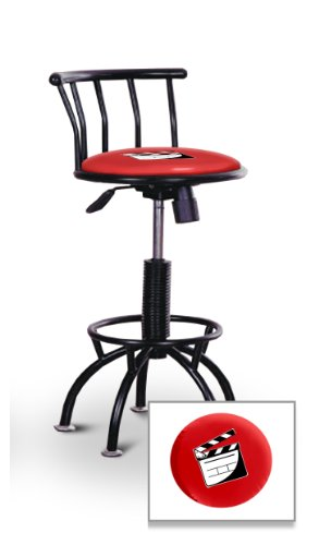 New Adjustable 24'' to 29'' Tall Black Metal Bar Stools Features a Movie Film Clapper Theme with Your Choice of Seat Color Vinyl! by The Furniture Cove