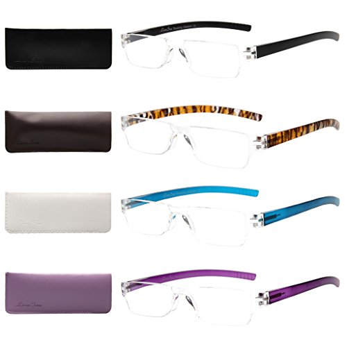 Liansan Designer Readers 4 Pairs Frameless Plastic Frame Reading Glasses for Men and Women L2220(+1.50)