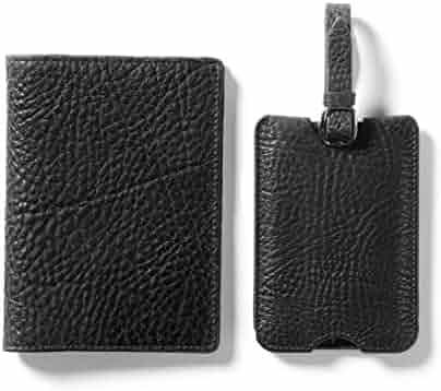 474cc4887d Deluxe Passport Cover + Luggage Tag Set - Italian Leather - Ebony (black)