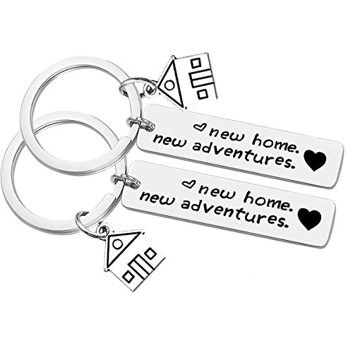2Pcs New Home New Adventures Keychain Set First Home Gift Housewarming Gift for New Homeowner House Keyring Moving in Key Chain New Home Owners Jewelry Realtor Closing - Keychain House