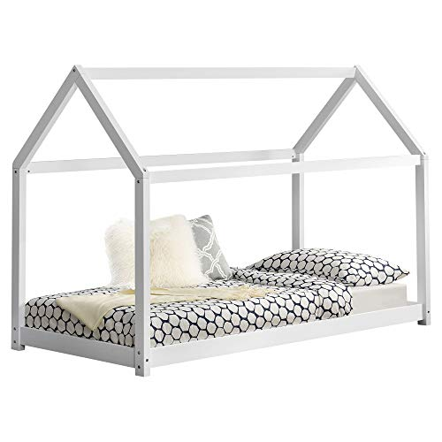 [en casa]] Cama para ninos de Madera Pino 206x98x142cm Cama Infantil Forma de casa Blanco Mate