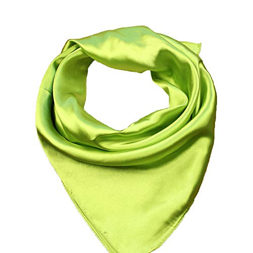 RongShi Silk Square Scarf Women's Fashion Scarves Lightweight Small Solid Color 22 In (Green)