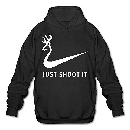 JOYSLI Men's Just Shoot It Funny Deer Hunting Hoodie Black -