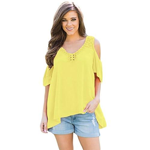 758d8901bc good Nuevo Amarillo ganchillo cuello cartucho negro Cold Shoulder Blusa de  para fiesta camiseta Top Casual