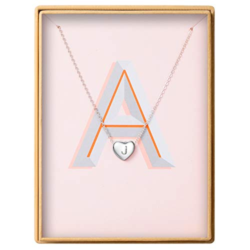 Dainty Heart Initial Necklace S925 Sterling Silver Letters J Alphabet Pendant Necklace Birthday Gift for Granddaughter Mother's Day Gifts