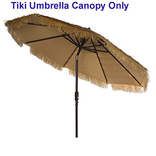 - Hawaiian Style Patio Replacement Cover for 9ft Market Umbrella Replacement Canopy 8 Ribs Thatch Patio Tiki Umbrella Tropical Palapa Raffia Tiki Hut Hawaiian Hula Umbrella Canopy Only Natural