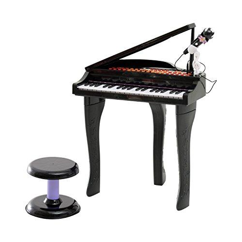 (Qaba 37 Key Kids Miniature Black Grand Digital Piano with Microphone, Stool, and 22 Songs)