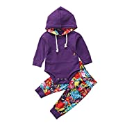 Newborn Baby Grils Hooded Romper with Pockets Bodysuits Floral Pants Set Clothes Outfits for 0-24M (Purple, 0-6 Months)