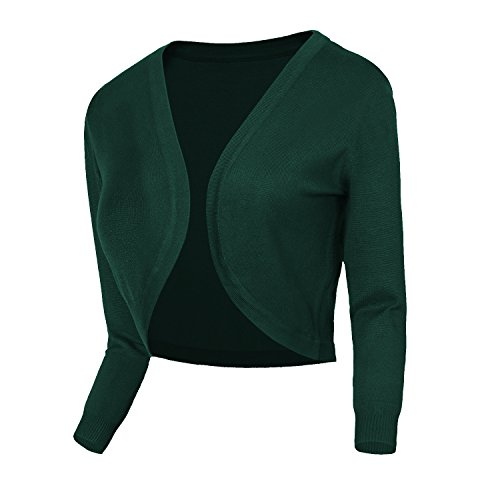 Urban CoCo Women's Cropped Cardigan V-Neck Button Down Knitted Sweater 3/4 Sleeve (S, 2 Dark Green)