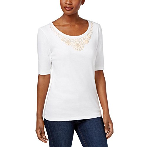 Karen Scott Womens Beaded-Neck Elbow Sleeves Casual Top White XL (Beaded Cotton Top)